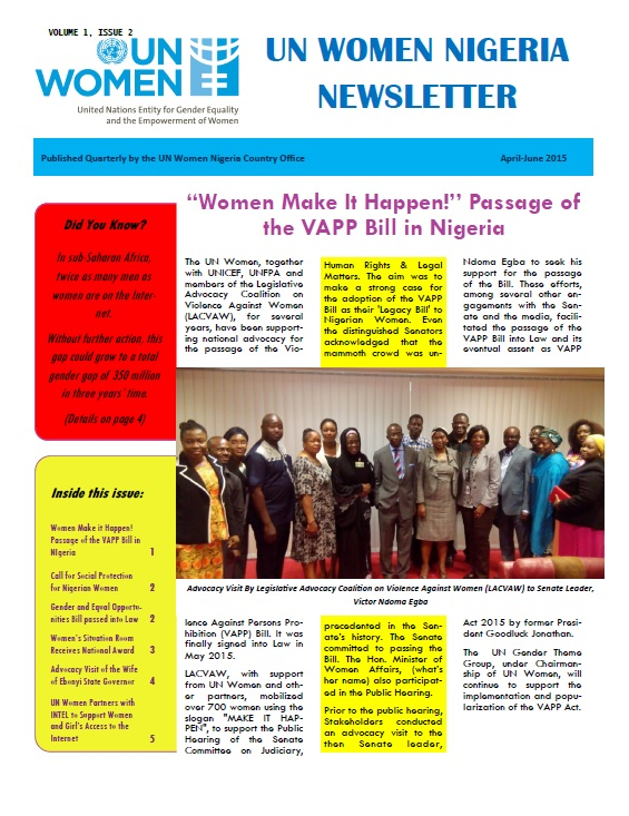 UN Women Nigeria newsletter : April - June