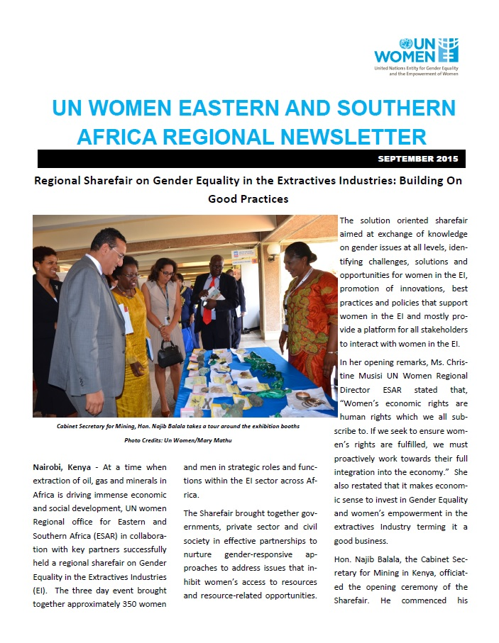 UN Women Eastern and Southern Africa Regional newsletter of September