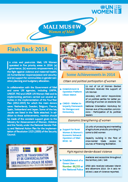 UN Women Mali January to March 2015 newsletter cover