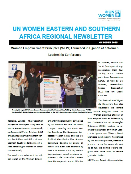 UN Women Eastern and Southern Africa Regional newsletter of October 2015