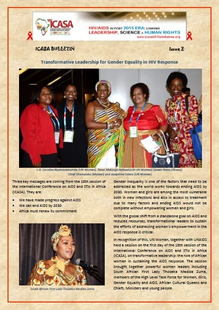 ICASA 2015 Bulletin issue 2 : Transformative Leadership for Gender Equality in HIV Response