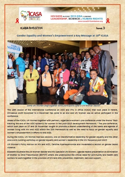 ICASA 2015 Bulletin issue 3 : Gender Equality and Women's Empowerment a Key Message at 18th ICASA