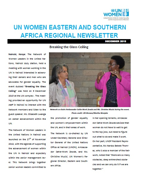 UN Women Eastern and Southern Africa Regional newsletter of December 2015