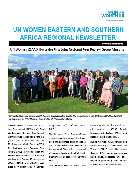 UN Women Eastern and Southern Africa Regional newsletter of November 2015