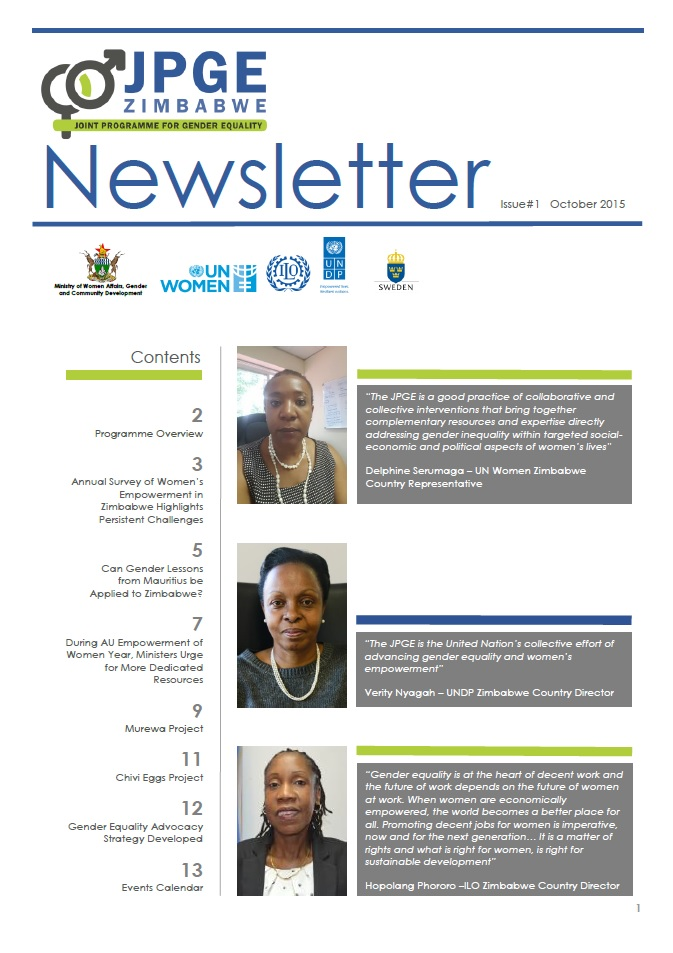 Zimbabwe Joint Programme for Gender Equality (JPGE) Newsletter - October 2015