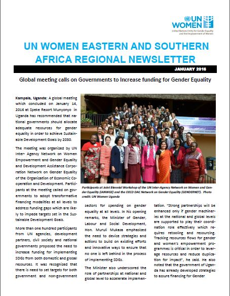 UN Women Eastern and Southern Africa Regional newsletter of January 2016