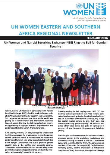 UN Women Eastern and Southern Africa Regional newsletter of February 2016