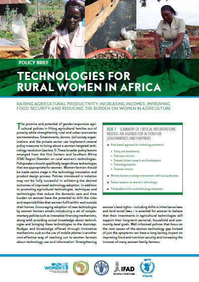 Technologies for Rural Women in Africa