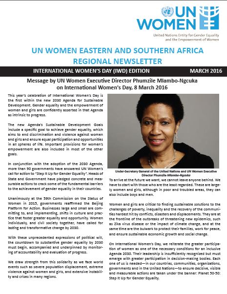 UN Women Eastern and Southern Africa Regional newsletter of March 2016