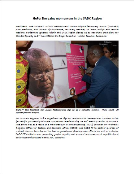 HeForShe gains momentum in the SADC Region