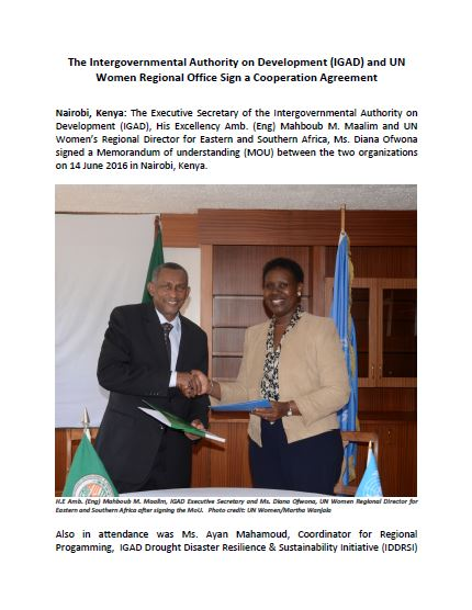 The Intergovernmental Authority on Development (IGAD) and UN Women Regional Office Sign a Cooperation Agreement