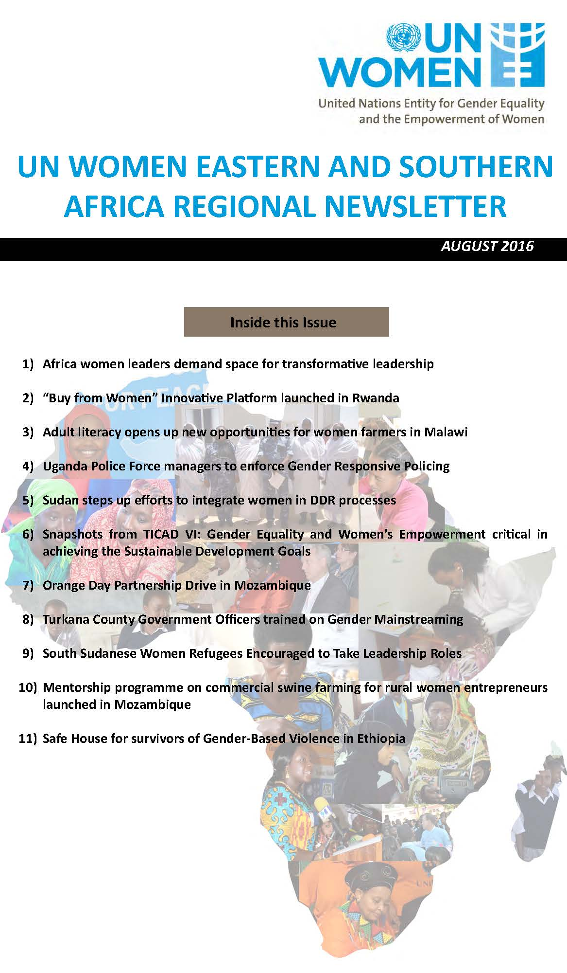 UN Women Eastern and Southern Africa Regional Newsletter of August 2016
