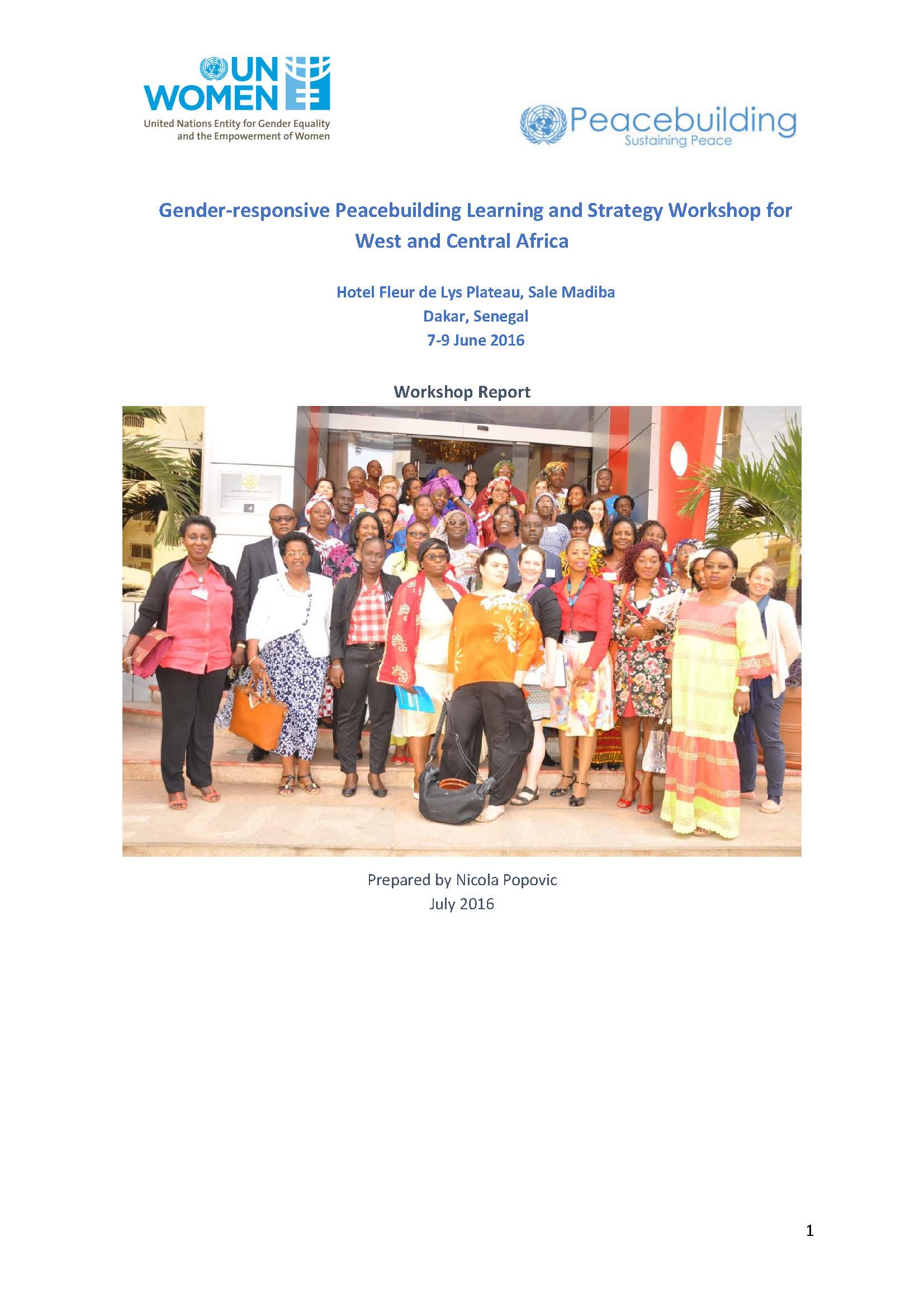 Gender responsive Peacebuilding Learning and Strategy Workshop for West and Central Africa
