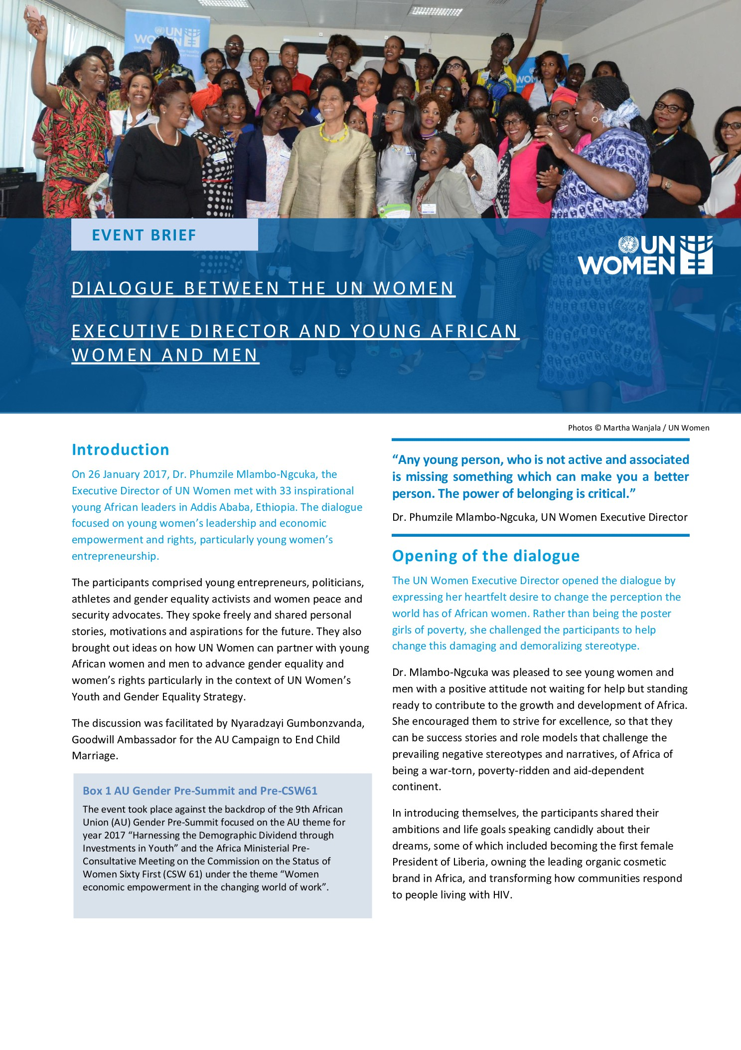 Brief: UN Women Executive Director's dialogue with African youth