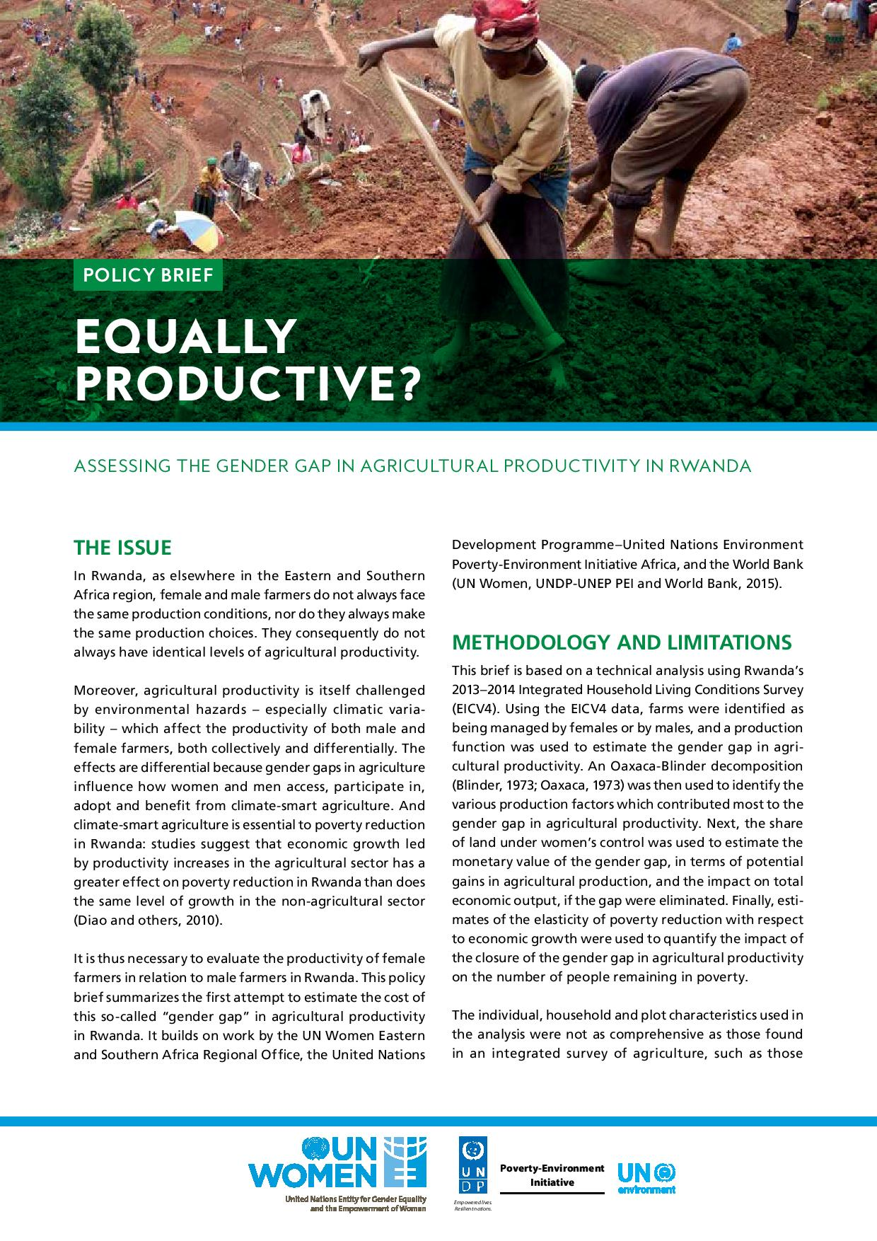 Policy Brief: Assessing the Gender Gap in Agricultural Productivity in Rwanda
