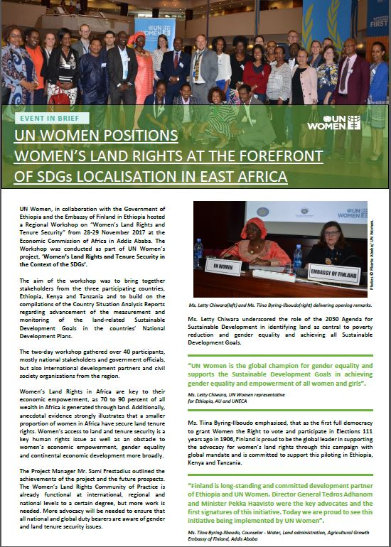 Womens Land Rights Regional Workshop Brief