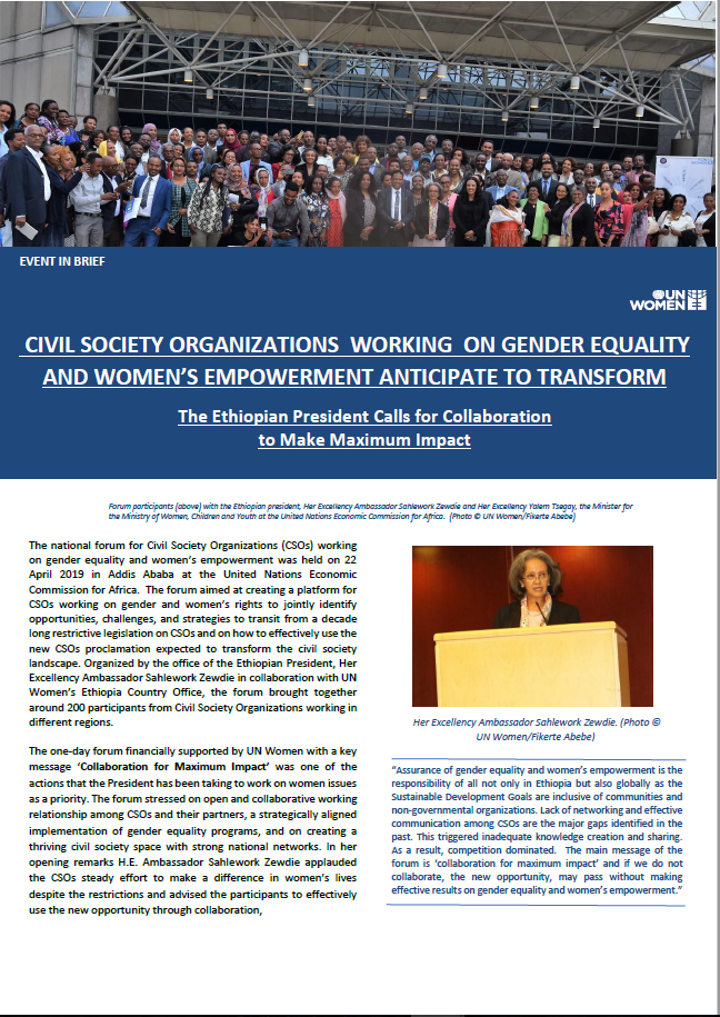 CIVIL SOCIETY ORGANIZATIONS WORKING ON GENDER EQUALITY AND WOMEN'S EMPOWERMENT ANTICIPATE TO TRANSFORM