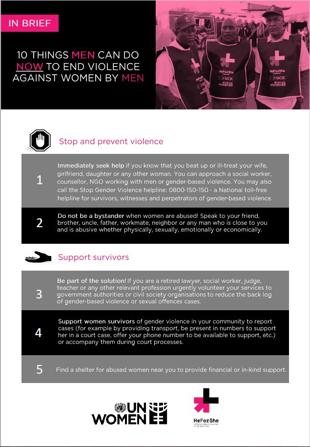 10 things men can do now to end violence against women by men