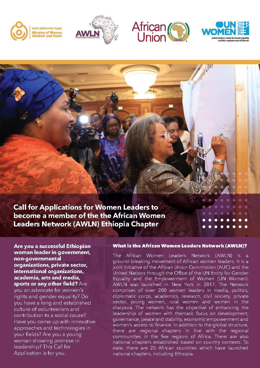 Call for Application for Women Leaders to become a member of the African Women Leaders Network (AWLN) Ethiopia Chapter