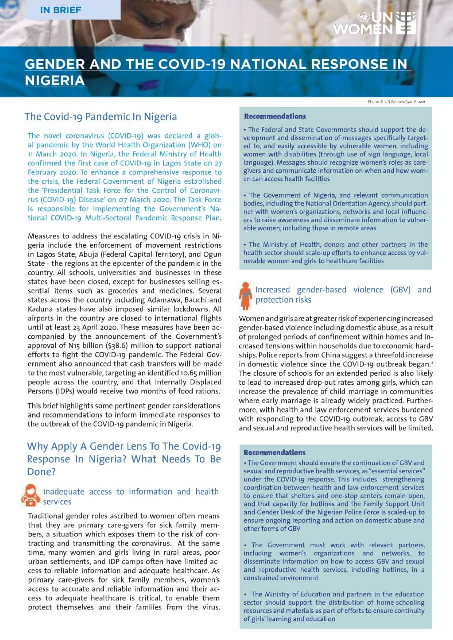 Gender and the COVID-19 national response in Nigeria
