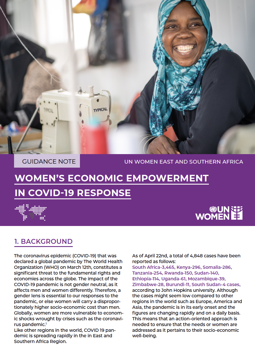 WOMEN'S ECONOMIC EMPOWERMENT IN COVID - 19 RESPONSE