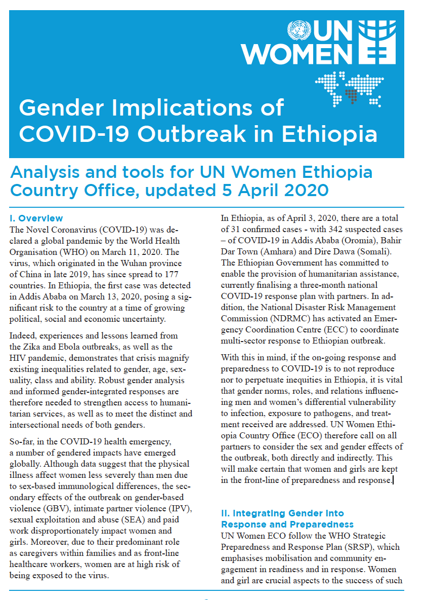Gender Implications of COVID-19 Outbreak in Ethiopia