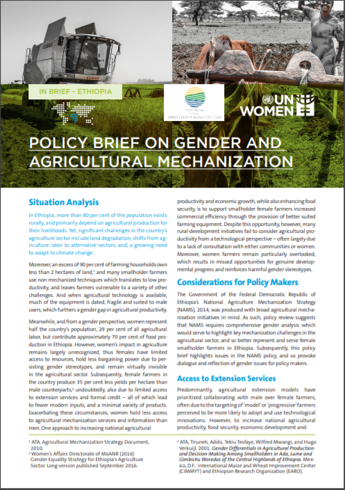Policy Brief: Gender and Agricultural Mechanization in Ethiopia-Rapid Assessment