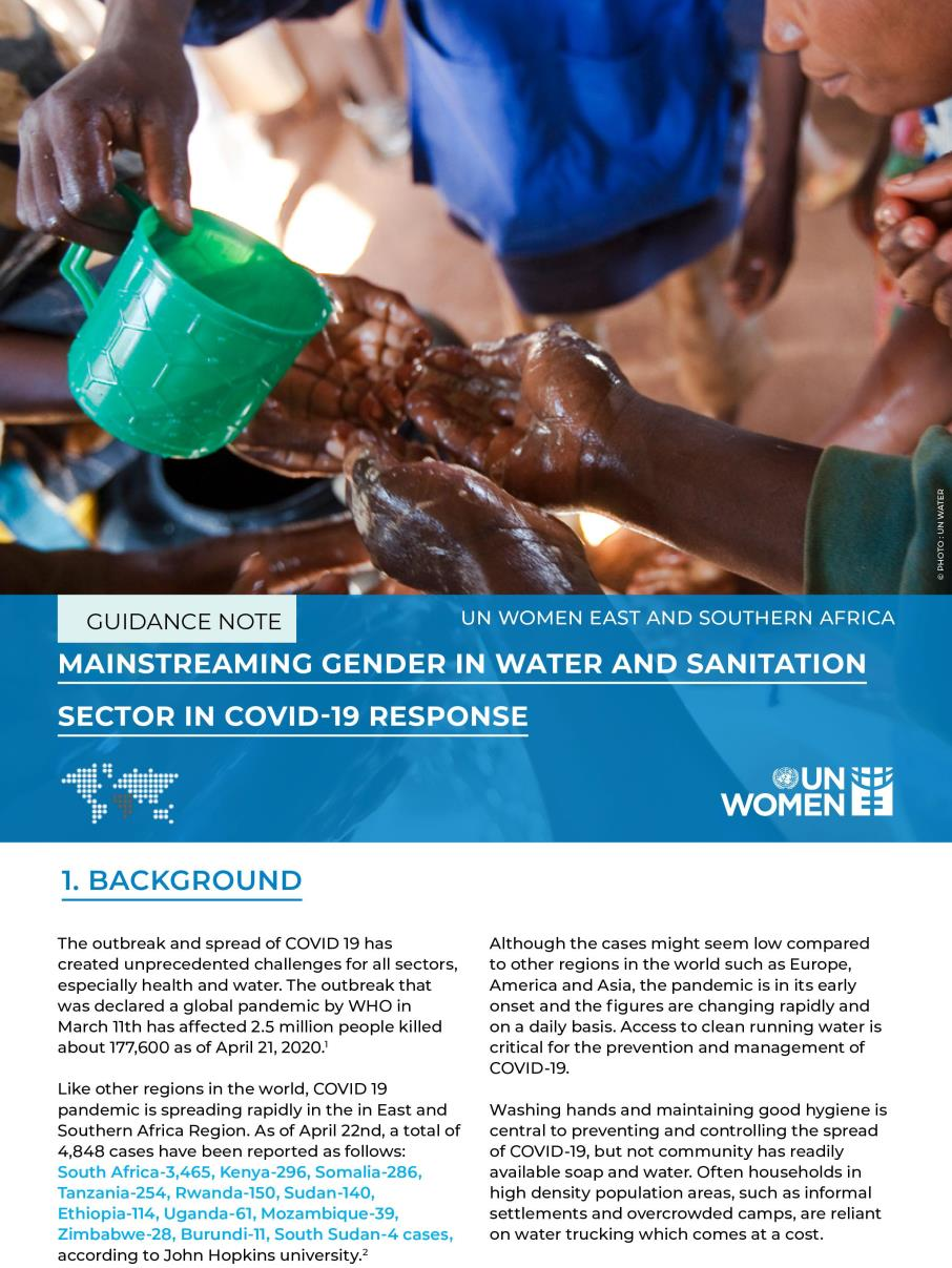 MAINSTREAMING GENDER IN WATER AND SANITATION IN COVID - 19 RESPONSE