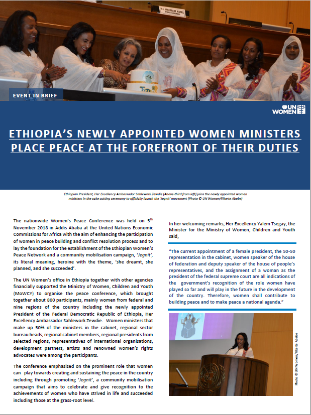 NEWLY APPOINTED WOMEN MINISTERS PLACE PEACE AT THE FOREFRONT OF THEIR DUTIES IN ETHIOPIA
