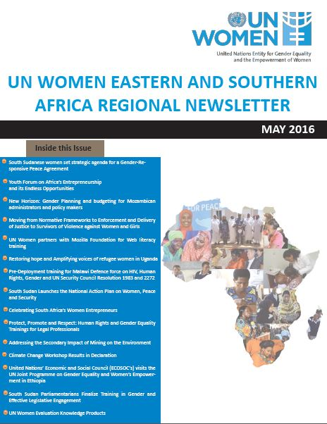UN Women Eastern and Southern Africa Regional newsletter of May 2016