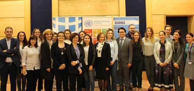 Representatives from human rights institutions, line ministries and civil society at the training on human rights. Photo: UN Women Albania/Kotaro Nakaoka