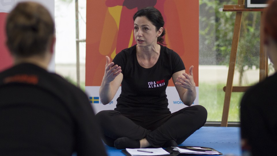 Gentiana Susaj, Aikido black belt (Shodan) and certified instructor for Empowerment through Self Defense during the training. Credit: UN Women Albania/Marsel Dajçi