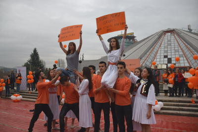 """National High School of Choreography performing in the main boulevard of Tirana at the launch of """"16 days activism against gender based violence"""".   Photo credit: Together for Life NGO"""