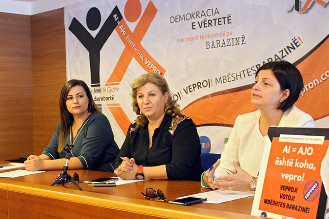 Women candidates of different political parties in open forums with a young students at the public forum in Durres, Albania. Photo: UN Women/Yllka Parllaku
