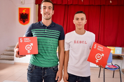 "Students of ""Luigj Gurakuqi"" high school in Elbasan. Photo credit: UN Albania"