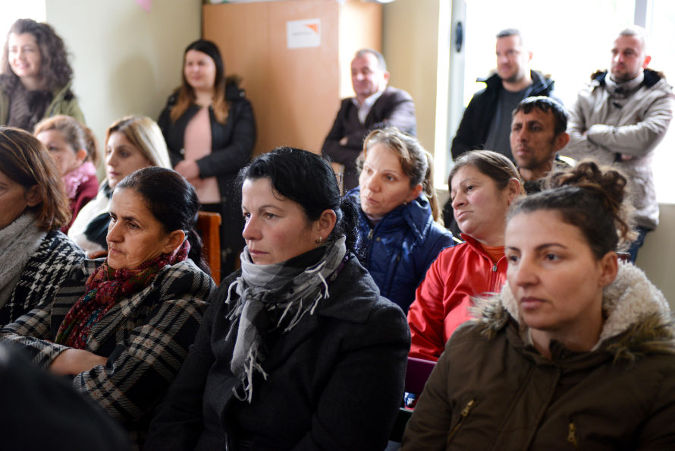 Women and girls of Shushice village, in Albania in a community forum about social norms that promote gender equality and prevent violence against women