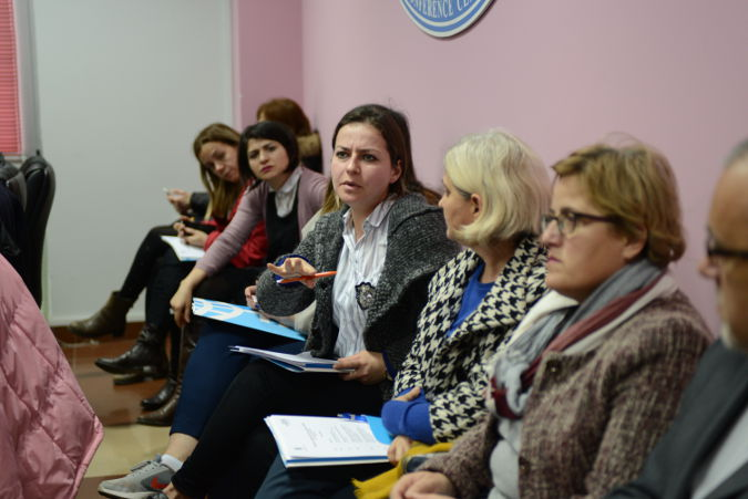 Member of civil society addressing the needs of women in Elbasan. Photo: UN Women/ Violana Murataj