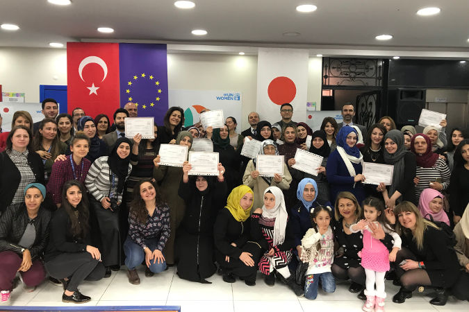 Certificate Ceremony of SADA Women-only Center held on 7th of March 2018 in Gaziantep, Turkey. Photo: UN Women