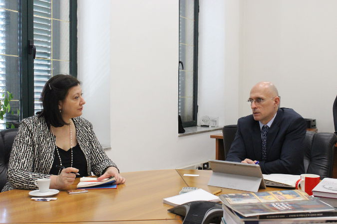 UN Women Regional Director for Europe and Central Asia, Alia El-Yassir (left) and the Deputy Minister of Finance and Economy, Mr. Erjon Luçi. Photo: UN Women Albania