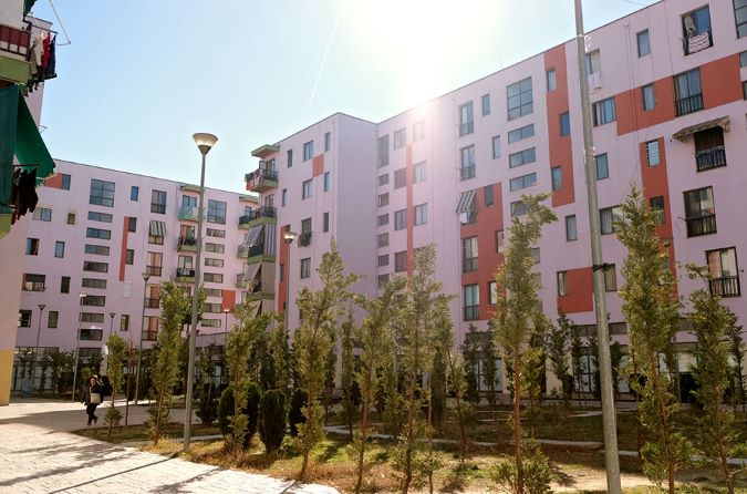 A scene from a public housing complex in Albania. Domestic violence survivors are now prioritized for spots in public housing, like this one and others. Photo: UN Women/ Yllka Parllaku