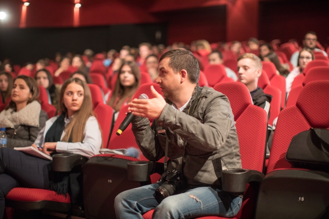 A participant at the discussions during Women International Film Festival in Albania. Photo credit: Olsi Beçi/ UN Women Albania