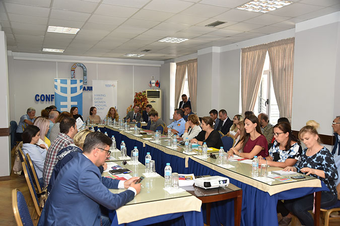 Members of parliament, local women councilors and members of the Referral Mechanism against Domestic Violence in Gjirokastra participating at a user-producer dialogue on the latest findings of the latest survey on Violence Against Women and Girls in Albania, during Global Goals Week. Photo: UN Albania