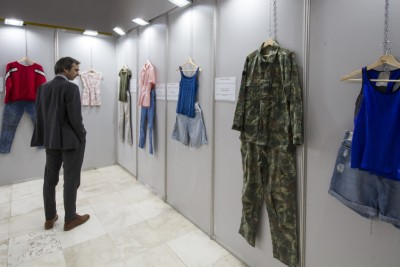 """What were you wearing"" exhibition displayed in ""Student City"", the largest student campus in Tirana, Albania. Photo: UN Women Albania/Marsel Dajçi"