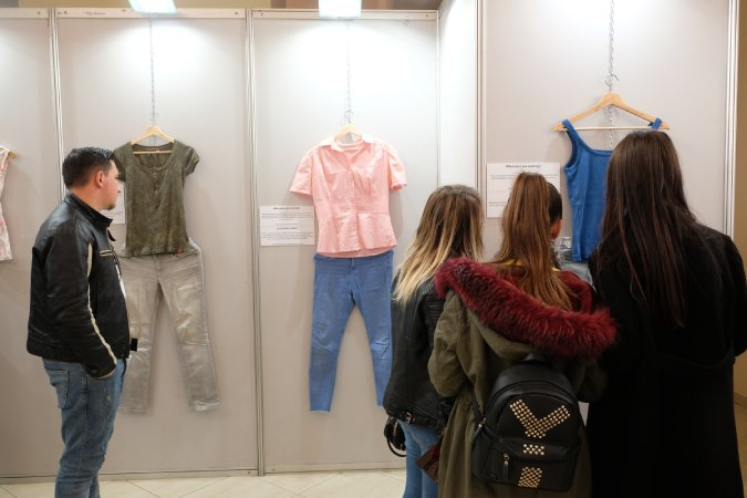 """What were you wearing"" exhibition displayed in ""Aleksander Xhuvani"" University"" in Elbasan, Albania. Photo: UN Women Albania/Yllka Parllaku"