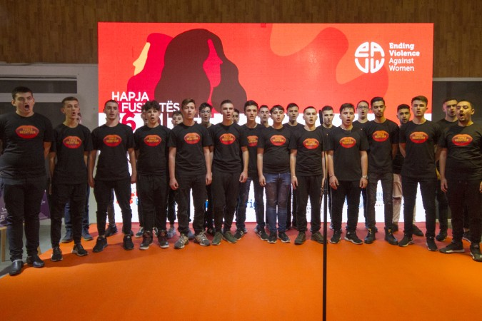 The choir of boys of the Artistic Lyceum singing at the opening of the 16 days of activism Against Gender-Based Violence in Tirana, Albania. Photo: UN Women Albania/Marsel Dajçi