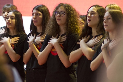 The choir of girls of the Artistic Lyceum singing at the opening of the 16 days of activism Against Gender-Based Violence in Tirana, Albania. Photo: UN Women Albania/Marsel Dajçi