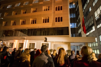 The Ministry of Health and Social Protection lighted in orange at the opening of the 16 days of activism Against Gender-Based Violence in Tirana, Albania. Photo: UN Women Albania/Marsel Dajçi