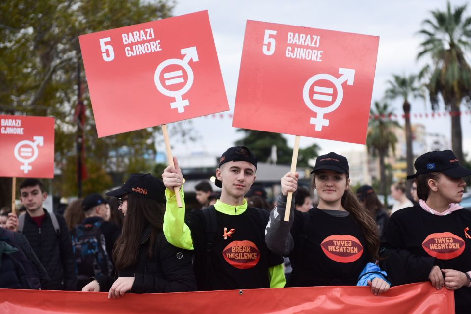 Civil society, students and the media march in the main square of the city of Elbasan during International Day for the Elimination of Violence against Women. Photo: Woman Forum Elbasan / Andi Allko.