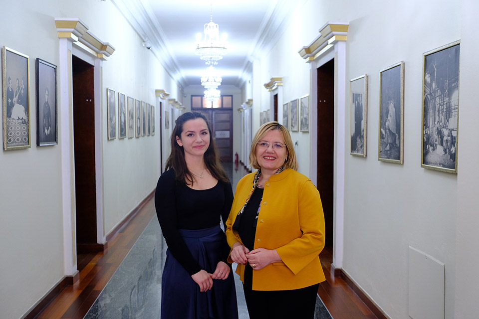 Ilvana Dejda (left) and Vasilika Hysi (right) at the premises of the Albanian Parliament. Photo: UN Women Albania