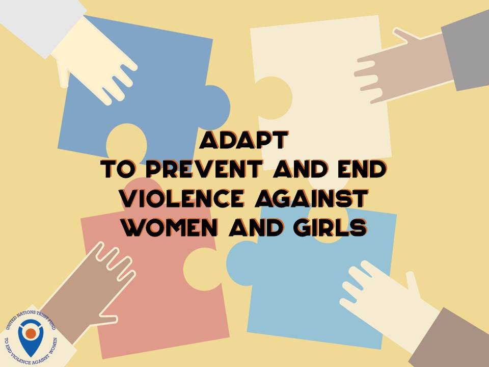 Woman Forum Elbasan adapts to end violence against women in Albania - image is a graphic of puzzle pieces put together as an analogy of adapting to prevent and end VAW